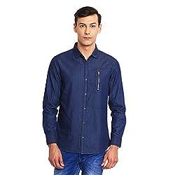 Canary London Dashing Look Blue Men's Casual Shirt