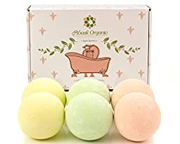 Abask Organic - Bath Bombs Gift Set, 6 Pack of Large Bath Fizzies, 4.2 Oz. - Yellow, Pink, Green Colors - New Scent: Surf\'s Up - Gift Idea For Her - For Relaxation and Relieve Stress, Gluten Free