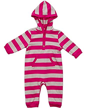 """Leveret """"Striped"""" Hooded One Piece Romper 100% Cotton (Size 3-24 Months) (3-6 Months, Berry & Chime)"""