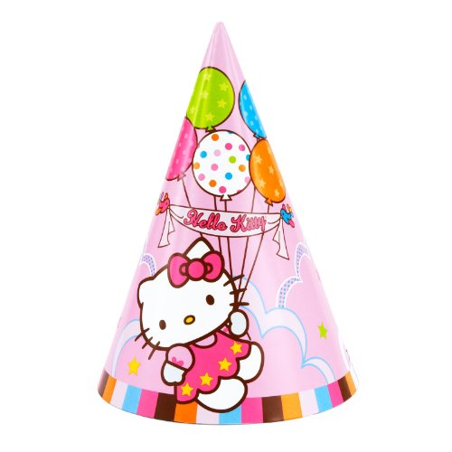 Pretty in Pink Hello Kitty Balloon Dreams Birthday Party Hats Wearable Supply (8 Pack), Multi Color, 6