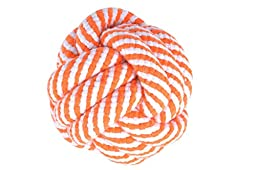 Awami Rope Knot Toy Chew for Dogs, Ball (Orange)