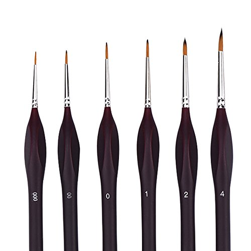 Mudder 6 Pack Paint Brush Set for Fine Detailing and Art Painting, Black