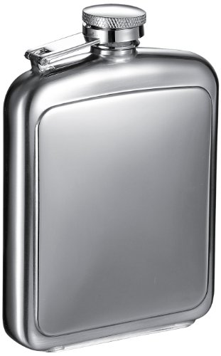 "Visol ""Vitak"" Polished And Brushed Metal Hip Flask, 8-Ounce, Chrome"