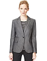 Autograph Pure Linen Notch Lapel Crosshatch Jacket