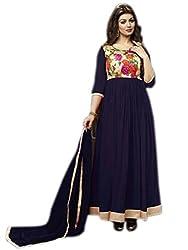Culture Fab Navy Blue Georgette Anarkali Suit