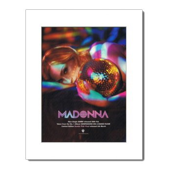 MADONNA Confessions On A Dance Floor 15x12in Matted Music Print/Mini Poster - White