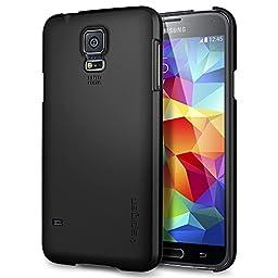 Galaxy S5 Case, Spigen® [Ultra Fit] Non-Slip [Smooth Black] Premium Protection SF Coated Non-Slip Matte Hard Case for Galaxy S5 (2014) - Smooth Black (SGP10731)