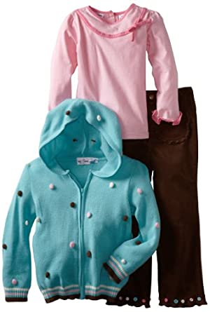 Babytogs Girls 2-6X 3 Piece Cardigan Sweater, Aqua, 4