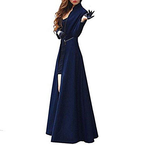 Vogholic Women's Floor-length Long Trench Coat Blue M