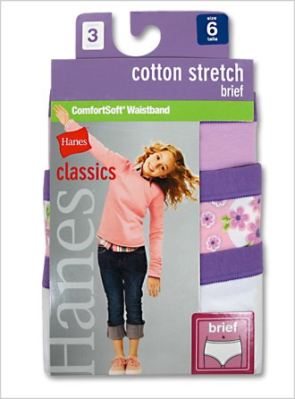 Hanes Girls Classic Cotton Stretch Brief(3-Pack)