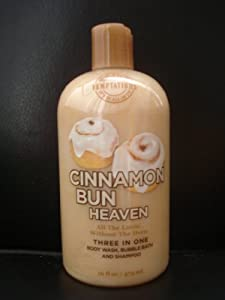 Bath & Body Works Temptations Cinnamon Bun Heaven3 in 1 Body Wash, Bubble Bath, & Shampoo 16 oz