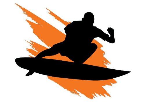 Surfing Silhouette with Orange Wave Splash - 12