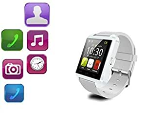 Jiyanshi Asus Zenfone 4.5 A450CG Compatible Bluetooth Smartwatch (White) With Supporting Apps Like Twitter, Whats App, Pedometer