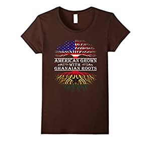 Women's American Grown With Ghanaian Roots Proud T-Shirt For Women M Small Brown