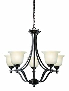 Design House 517748 Ironwood 5 Light Chandelier Light Fixture, Brushed Bronze Finish with Snow Glass