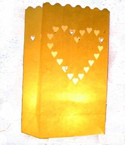 EWIN(R) 10pcs Large Hearts Love Wedding Outdoor Path Tea Light Candle White Paper Bag Lantern (Heart)