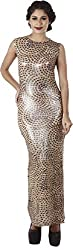 Difneez Women's Synthetic lycra A-Line Dress(sheath-dress-gol001_Gold, Beige_Medium)