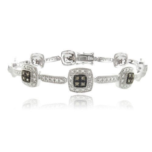 Sterling Silver 2/5ct TDW Champagne Diamond Square Link Bracelet