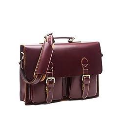 Men's Brown Genuine Leather Business Laptop Briefcase Shoulder Messenger Bags