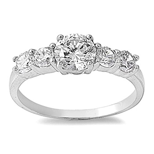 Sterling Silver Woman'S Clear Cz Wedding Ring Beautiful Comfort Fit 925 Band 7Mm Size 10 Valentines Day Gift