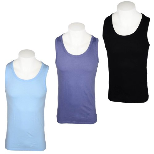 Harbour Classic Men's 3 Pack Black, Denim Blue & Light Blue Crew Neck Vests in Size Small