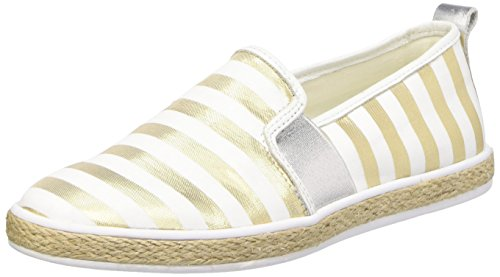 Guess Fabric Active Scarpe Low-Top, Donna, Multicolore (oro/bianco), 41