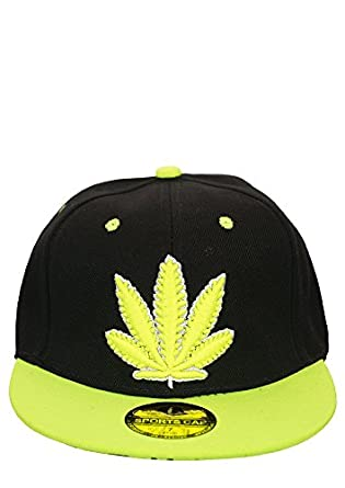 Snapback Cap / Baseball Cap - New York / Cannabis / Los Angeles / Chicago / Frankfurt / OMG (Cannabis - Noir / Neon Jaune)