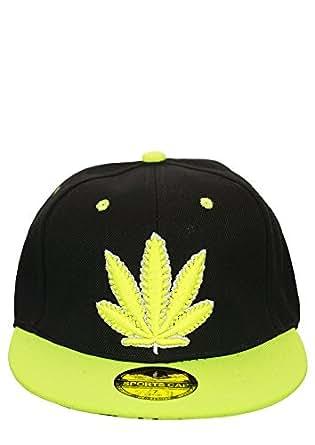 Snapback Cap / Baseball Cap - New York / Cannabis / Los Angeles / Chicago / Frankfurt / OMG (Cannabis - Noir / Neon Jaune)