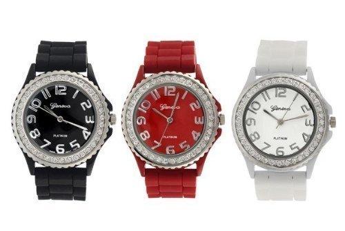 Geneva Platinum Silicone Band CZ Watch Set (Black, White, Red) (Geneva Platinum Women Watches compare prices)