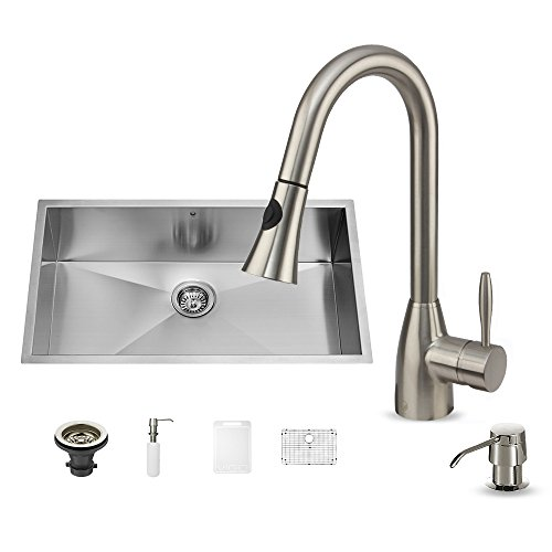 VIGO VG15295 All in One 30-inch Undermount Stainless Steel Kitchen Sink and Faucet Set