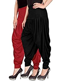 Navyataa Women's Lycra Dhoti Pants For Women Patiyala Dhoti Lycra Salwar Free Size (Pack Of 2) Red & Black