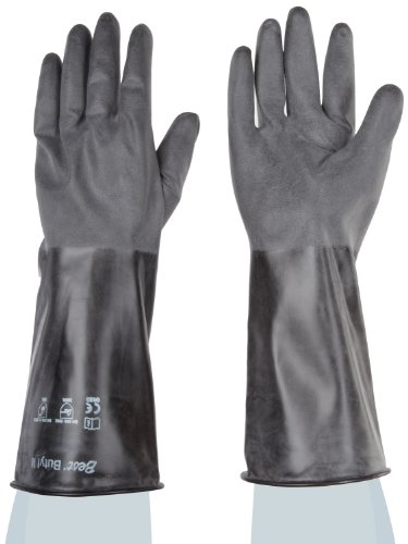 Showa Best 874R Unlined Butyl Glove, Rough Grip, Rolled Cuff, Chemical Resistant, 14 mils Thick, 14