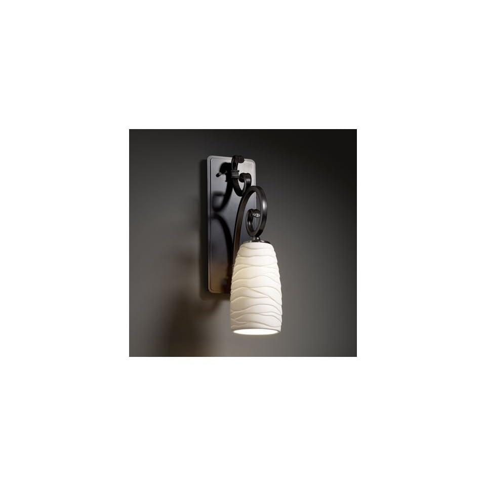 Justice Design Group POR 8578 28 WAVE MBLK Limoges 1 Light Sconces in Matte Black