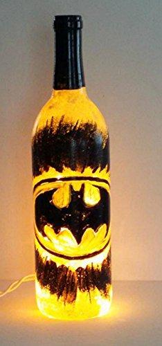 Hand Painted Batman Lighted Wine Bottle Table Lamp Superhero Night Light (Batman Wine Glass compare prices)