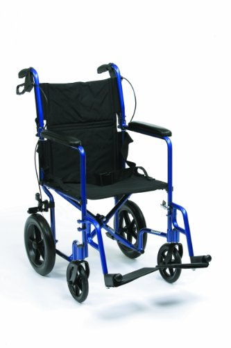 "Drive Medical Expedition EXP19BL - Sedia a rotelle da viaggio, in alluminio, leggera, 46 cm (19""), colore: Blu"