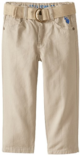U.S. Polo Assn. Little Boys' Belted Twill 5 Pocket Pant, Light Khaki, 2T