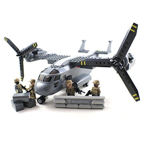V-22 Osprey Tiltrotor Military Aircraft and Army Minifigures - Building Block Toy (Military Building Blocks compare prices)