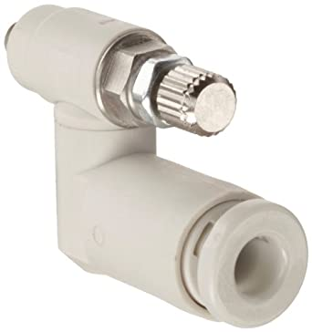 SMC AS Air Flow Control Valve, PBT & Nickel Plated Brass, Universal, Metric Thread Male X Push-to-Connect Fitting