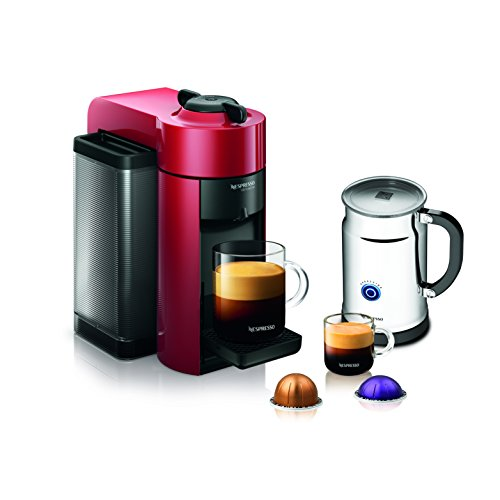 Nespresso A+GCC1-US-RE-NE VertuoLine Evoluo Coffee & Espresso Maker with Aeroccino Plus Milk Frother, Red