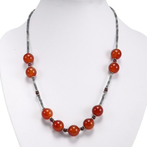 EXP Handmade Carnelian Agate, Silver & Green Gemstone Necklace