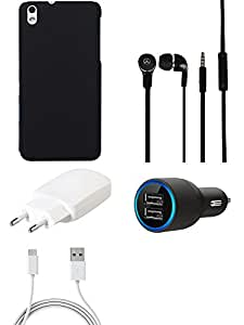 NIROSHA Cover Case Charger Headphone for HTC Desire 816 - Combo