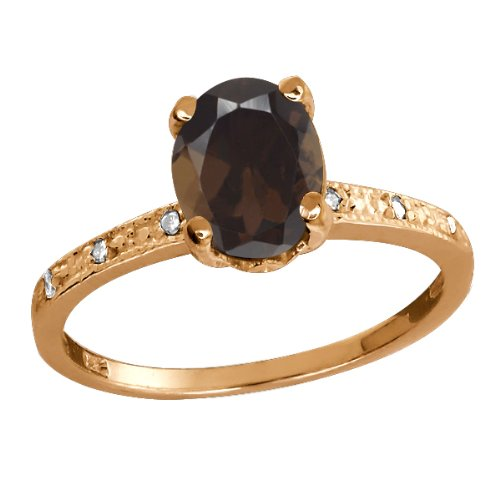 1.24 Ct Oval Brown Smoky Quartz and Topaz Rose Gold Plated Sterling Silver Ring