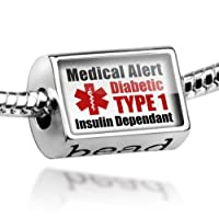 "Neonblond Beads Medical Alert Red ""Diabetic Insulin Dependant TYPE 1"" - Fits Pandora Charm Bracelet by NEONBLOND Jewelry & Accessories"