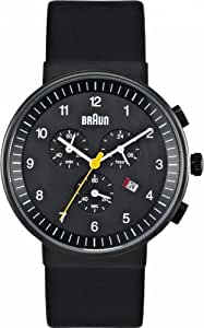 Braun Chronograph Watch 40mm, Black Face, Black Leather Band
