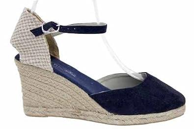 f1542nvs damen sandalen espadrilles mit keilabsatz uk7. Black Bedroom Furniture Sets. Home Design Ideas