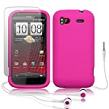 HTC SENSATION XE HOT PINK SILICONE SKIN CASE / COVER / GEL + SCREEN PROTECTOR + HEADSET PART OF THE QUBITS ACCESSORIES RANGEby Qubits