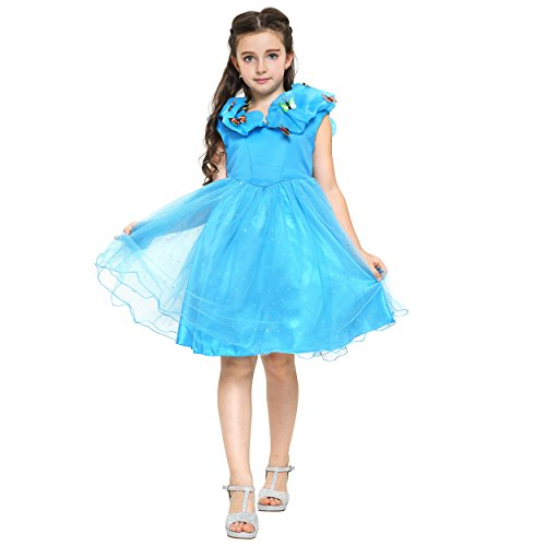 [Fancy Elsa, Cinderella Dresses for girls inspired by Frozen (3-4 years, Blue - Cinderella with] (Film Inspired Halloween Costumes)