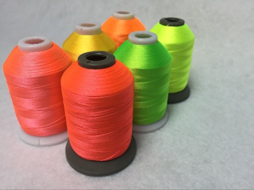 Sinbel Polyester Embroidery Thread 6 Neon Fluorescent Colors 1000Meters/1100Yards Per Spool For Brother Babylock Janome Singer Pfaff Husqvaran Bernina Machines (Machine Embroidery Thread 1000m compare prices)