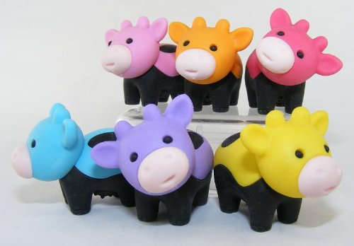 6pcs Japanese Iwako Erasers-Black Feet Cow - 1