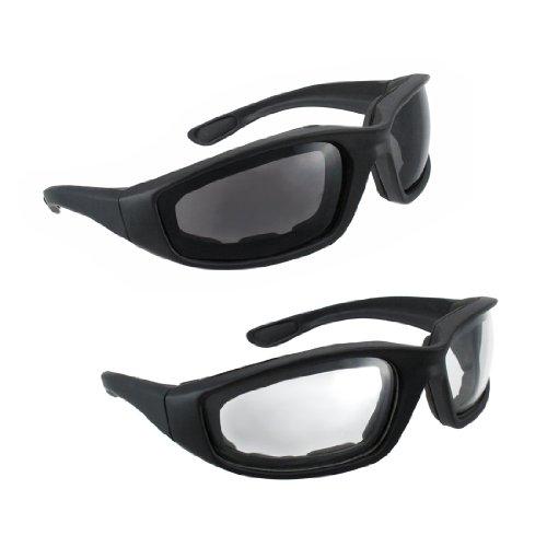 Motorcycle Riding Glasses - 2 Pair Smoke & Clear Biker